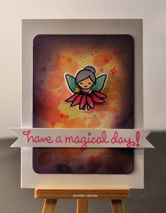 """https://flic.kr/p/E3KErN   magical day   lawn fawn fairy friends stamps and stitched journal die, lawn fawn ink blending and smooshing; copic coloring, fussy cut the """"skirt"""" from the daisy flower"""