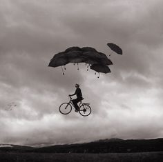 Inspiration By Exploration: Journey Through Fine-Art Photography Photomontage, Surrealism Photography, Art Photography, Flying Photography, Whimsical Photography, Creative Self Portraits, Arte Black, Foto Poster, Umbrella Art