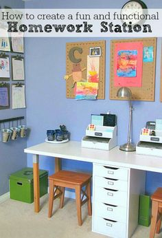 Homework Station Great ideas to help you create a kids' homework station! Great ideas to help you create a kids' homework station! Kids Homework Station, Homework Desk, Homework Organization, Kid Desk, Organization Ideas, Kids Homework Room, Kids Desk Space, Kids Art Station, Kid Playroom