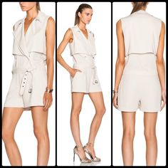 """HAUTE HIPPIE ⚱ Safari Trench Romper NWT Work a fresh, flattering angle on safari chic with this silk jumpsuit, cleverly tailored with trenchcoat details. Draped oversized notched lapels at dep surplice neckline. Concealed double-breasted button front. Draped wind flaps. Sleeveless. Self belt. Fly detail. Darts from waist. Side slash pockets. Folded cuffs. Buttoned storm flap. Lined. Inseam, about 4"""" About 33"""" from shoulder to hem. Silk. Dry clean. Color: buff NWT fits XS to S Haute Hippie…"""