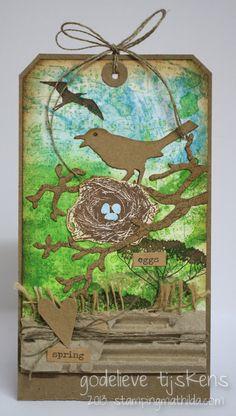 bird branch Die Cut | has used the Sizzix Bird Branch Die with the Darkroom Door 'Love Birds ...