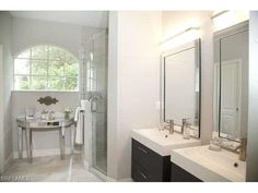 2030 Morning Sun Ln, Naples, FL 34119 | Beautiful tile work in the frameless shower.  Heritage Greens north Naples