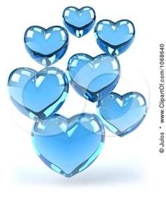 blue glass hearts