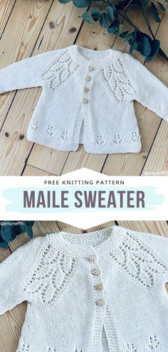 How to Knit Maile Sweater How to Knit Maile Sweater,Free Knitting Patterns Maile Sweater Free Knitting Pattern This baby cardigan is so retro! Its irresistible charm may be caused by the beautiful floral motifs. Baby Cardigan Knitting Pattern Free, Baby Sweater Patterns, Knitted Baby Cardigan, Knit Baby Sweaters, Knitted Baby Clothes, Free Knitting, Baby Knits, Free Baby Sweater Knitting Patterns, Knitting Baby Girl