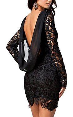 Black Crochet Backless Long Sleeve Women's Lace Dress (Plus Size Available) Elegant Dresses, Sexy Dresses, Cute Dresses, Vintage Dresses, Short Dresses, Dress Long, Mini Dresses, Party Dresses, Flower Dresses