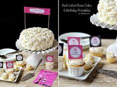 Red Velvet Cinnamon Layer Rose Cake #recipe and Birthday Printables TidyMom.net