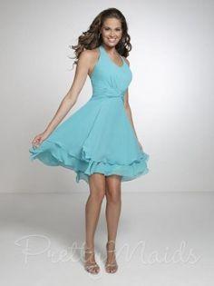 Pretty Maids 22539 Short Chiffon Bridesmaids Dress