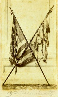 19th Massachusetts Infantry Unit Flag and United States Flag recovered from battlefield. CDV photograph by J. E. Tilton & Co.  (Heritage Auctions).
