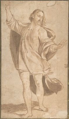 """""""Standing Figure of Christ w/ Arms Upraised""""  --  1484-1539  --  Giovanni Antonio da Pordenone  --  Italian  --  Point of brush & brown wash in two shades, faintly squared in charcoal, on paper  --  The Metropolitan Museum of Art"""