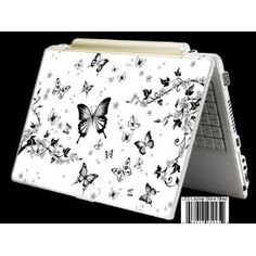 """Laptop Skin Shop Laptop Notebook Skin Sticker Cover Art Decal Fits 13.3"""" 14"""" 15.6"""" 16"""" HP Dell Lenovo Asus Compaq (Free 2 Wrist Pad Included) Butterflies Floral"""