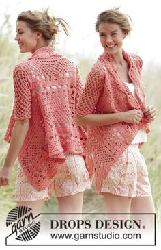"Peach Dream - Crochet jacket worked in a square with lace pattern in ""Paris"" yourcrochet"