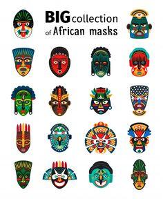 Buy Tribal African Masks Set by ssstocker on GraphicRiver. Tribal ethnic african mask big set on whate background. African Logo, Tribal African, African Artwork, African Art Paintings, Afrika Tattoos, African Art Projects, African Crafts, Africa Art, Africa Flag