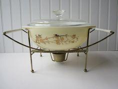Pyrex Golden Branch 1950s Hospitality Casserole Warming Stand Set. $36.50, via Etsy.