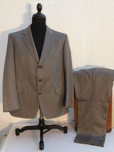 """Vintage Reid & Taylor-Magee-Wool Silvery Grey Herringbone stripe 2 Pc Suit-40""""R"""
