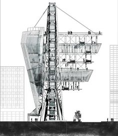 wild-improbability:(via suburbia tower - aaron berman architecture) Architecture Graphics, Architecture Drawings, Architecture Details, Interior Architecture, Interior Design, Cantilever Architecture, Ok Design, Section Drawing, Elevation Drawing