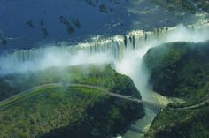 Victoria falls, separating Zambia and Zimbabwe is the worlds widest continuous wall of water.