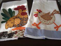 kitchen towel appliqued chickens