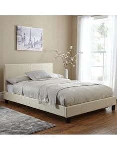Esme Faux Leather Bed Frame in Single, Double and King Size options; with…