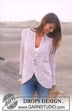 Free knitting patterns and crochet patterns by DROPS Design Pull Crochet, Crochet Coat, Crochet Shirt, Knitted Coat, Crochet Jacket, Crochet Clothes, Knitting Machine Patterns, Knit Patterns, Clothing Patterns
