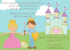 Prince and Princess Invitations and Party Favor Tags Princess Party Invitations, Birthday Party Invitations, Party Favor Tags, Kid Party Favors, Spa Birthday Parties, Birthday Celebration, Princess Birthday, Girl Birthday, 9th Birthday