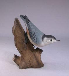 Whitebreasted Nuthatch Hand Carved Wooden Bird by jjstudio on Etsy, $185.00