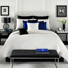 Don't like this specific room, but a nice, simple white comforter // Vince Camuto Milan Comforter Set