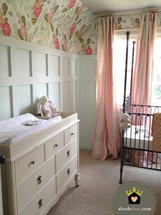 flourish design + style - mint green wainscotting, wide candy stripe curtain, large floral wallpaper