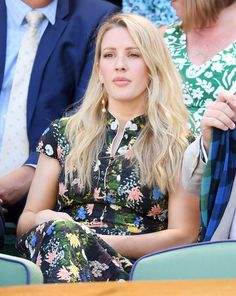 Take a Look Back at All the Stars in the Stands at Wimbledon This Year Ellie Goulding Hair, Embellished Jumpsuit, Cara Delevingne, Wimbledon, Celebs, Celebrities, Blonde Highlights, Down Hairstyles, Tight Dresses