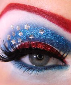 Superhero Style?  Themed Eye Makeup Exists    It's nowhere near as hot (or juicy... or delicious...) as our favorite hamburger-themed combo of eyeshadow and mascara, but there's still something to be said for this similarly styled superheroic Avengers-themed eye art (yes, we're coining the phrase).