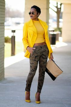 Discover this look wearing Mustard Old Navy Coats - Camo + Mustard by thedaileigh styled for Chic, Everyday in the Winter Camo Fashion, Fashion Mode, I Love Fashion, Fashion Outfits, Womens Fashion, Fashion Trends, Fashion Finder, Yellow Fashion, Lolita Fashion