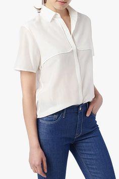 7 For All Mankind, Back Vent Detail Shirt in Blanc de Blanc, blncdeblnc, Womens : Shirts & Tops, AN0765L67