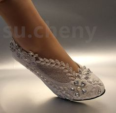 "2"" low heel Lace white light ivory crystal Wedding shoes Bridal pump size 5-12 