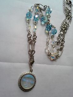Kirks Folly Seaview Moon Necklace Crystal AB Up Up 32 in Silvertone | eBay