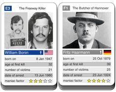 card game Notorious Serial Killers - William Bonin versus Fritz Haarmann Criminal Profiling, Serial Killers, True Crime, Trading Cards, Card Games, Acting, Mindfulness, Facts, Explore