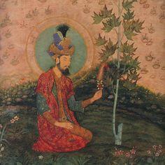 Emperor Humāyūn (نصیر الدین محمد همایون); seated in a landscape (detail), Mughal, c. 1650.