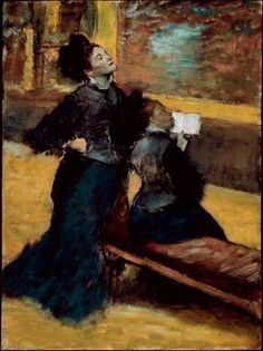 """'Visit to a Museum,' c. 1879-80; Edgar Degas; oil on canvas; part of the """"Degas/Cassatt"""" exhibit at the National Gallery of Art, Washington DC, U.S.A."""