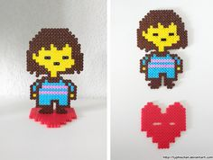 Frisk with stand - Undertale perler beads by TyphieChan Pearler Bead Patterns, Perler Patterns, Diy Perler Beads, Pearler Beads, Undertale Pixel Art, Pixel Beads, Miraculous, A Hat In Time, Fusion Beads