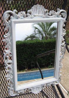 Shabby Chic Mirror, Ornate Mirror Antiqued in Light French White, Hollywood Regency Mirror, Rococo Mirror, Shabby Chic. $74.00, via Etsy.