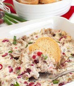 Warm Sausage Cranberry Cream Cheese Dip Cranberry Cream Cheese Dip, Cream Cheese Dips, White Sausage, Sausage Dip, Best Dip Recipes, Snack Recipes, Cooking Recipes, Christmas Appetizers, Christmas Snacks