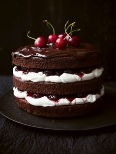 """Black Forest Gateau - look, pretty much just do a search for """"Black Forest Cake"""" or """"cherry cake"""" and I'm interested in all of it. Just some kind of combo of cherries and chocolate! Bbc Good Food Recipes, Sweet Recipes, Yummy Food, Just Desserts, Dessert Recipes, Cake Recipes, German Desserts, Gateaux Cake, Cookies"""