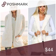 New Chic Fur Vest Hoodie Boho chic super soft lined faux fur vest with hoodie detail . Love this chic boho look . Nwt Ivory only as shown . Vivacouture Jackets & Coats Vests
