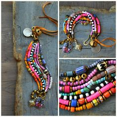 Rustic, Ethnic multi strand bracelet, Hippie, Boho, Gypsy bracelet, Tribal bracelet, Trade bead bracelet, Kuchi charm, Bell, Coin.