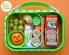 Sprout's First Hallowe'en yubo with sandwich spirals, satsuma Jack O'Lantern, & Horizon Chocolate Milk