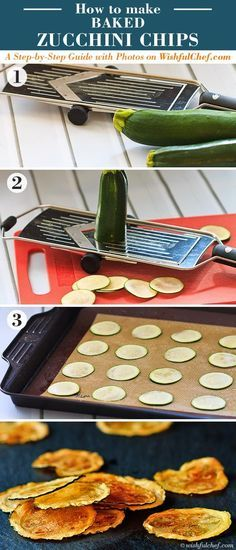"""A last-minute game day snack! """"Baked Zucchini Chips - Super Healthy with only 3 Ingredients"""" // wishfulchef.com"""