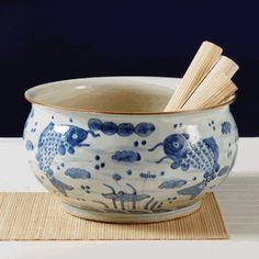"15"" Dia Chinese Blue & White Porcelain Koi Pond Bowl"