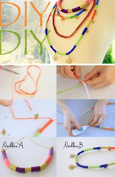 DIY :: Colorblock Rope Necklaces (Video tutorial linked)  | www.LifeAnnStyle.com