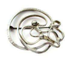 Vintage Scandinavian sterling silver squiggle brooch, freeform modernist Nordic design, Sweden Denmark Norway, handmade mid century. https://www.etsy.com/listing/278213212/vintage-scandinavian-sterling-silver