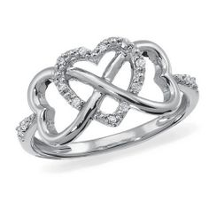 Infinity Heart, Sterling Silver, Diamond Accent Ring, Samuels Jewelers