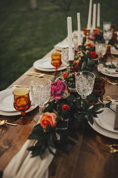 flowy table runner adds a little romantic touch