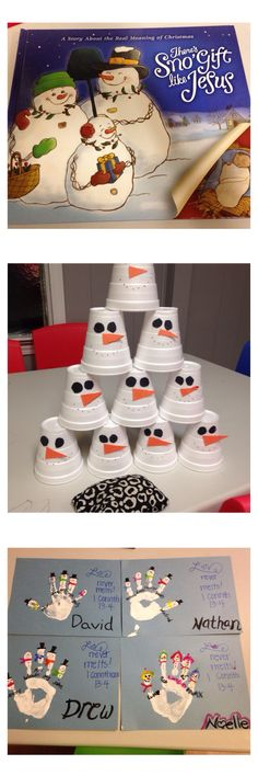 """Family Night- similar to Sunday school. This is our December lesson based on the book """"There's Sno' Gift Like Jesus"""" we played Snowman Air Bowling and made our own snow families- gave each snow man a name for effect!:)"""